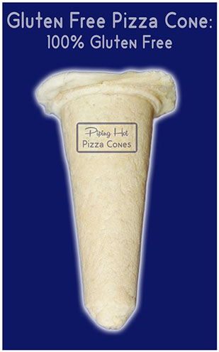 Gluten Free 100% Piping Hot Empty Pizza Cone that is the solution to gluten intolerance. Fill empty cone yourself and enjoy pizza cones at home.