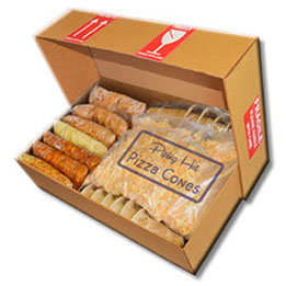 A box with a variety of fillings, cheese and empty cones.