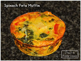 The Spinach Feta Muffin with coloured peppers inside, is the Vegetarian's delight. Delicious veggies in a zero carb meal!