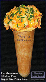 Piping Hot Bacon, Ham and Chourizo Super Size Pizza Cone made with 3 cheeses.