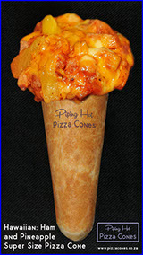 Piping Hot Hawaiian Ham and Pineapple Super Size Pizza Cone made with 3 cheeses.