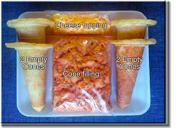 Frozen DIY Piping Hot Pizza Cone packs containing 4 empty cones, filling, cheese and instructions to prepare.